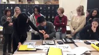 Japanese Calligraphy workshop by Masako Inkyo at Connecticut College