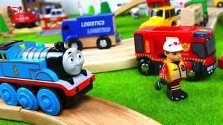Wooden trains toy city Fire trucks for kids Thomas and friends wooden brio trains and cars for kids