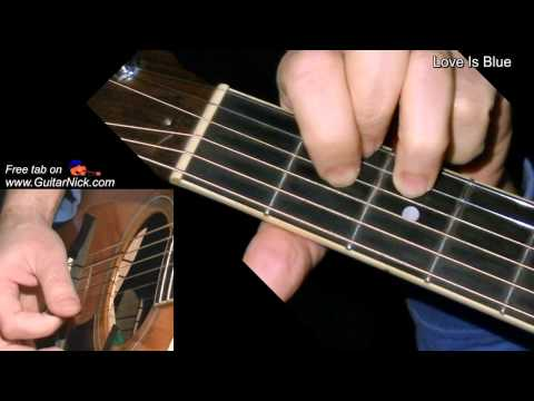 Love Is Blue| flatpicking + TAB! Acoustic guitar lesson, learn to play