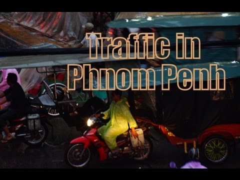 Hectic traffic in Phnom Penh, Cambodia during a storm