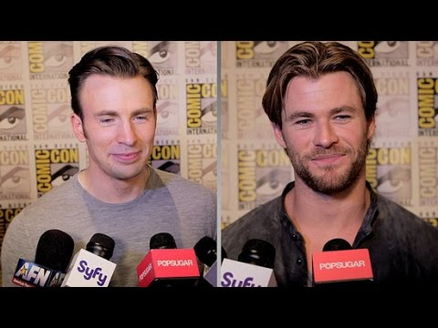 set - We caught up with the cast of Avengers: Age of Ultron at Comic-Con to get the scoop on the next installment of the Marvel franchise. Plus, we asked Robert Downey Jr., Chris Evans, Chris Hemsworth,...