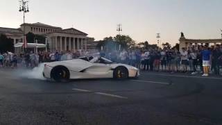 La Ferrari Skid in Budapest... Gutsy Move!A Mustang would of eaten that crowd alive...#jcartu #laferrariaperta