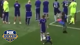 Eden Hazard definitely doesn't take it easy on his toddler son. by FOX Soccer