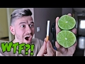 IMPOSSIBLE TRICK - HOW TO CUT A LIME WITH A CIGARETTE!! *TOP 5 BAR TRICK BETS YOU WILL ALWAYS WIN*