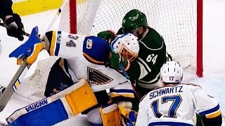 Watch as Mikael Granlund crashes the net and gets his stick around the neck of Jake Allen.