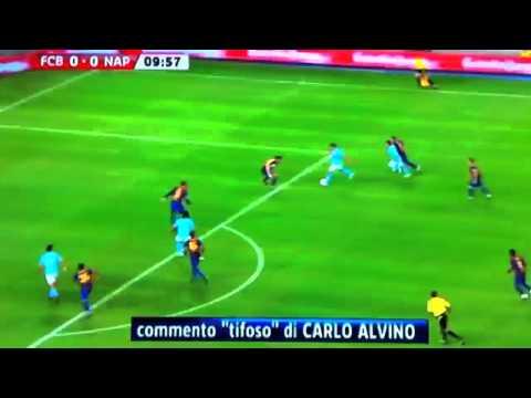 La rovesciata di Cavani col commento di Carlo Alvino in Barcellona - Napoli