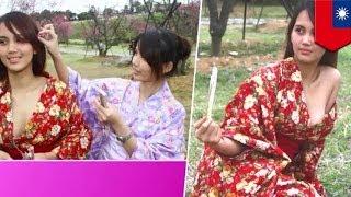 台湾 桜祭りに巨乳の浴衣美女