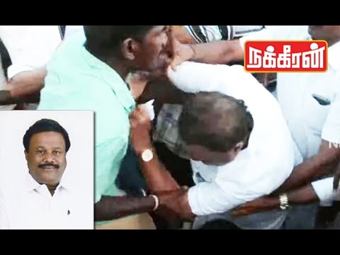 ADMK-Minister-Srinivasan-attacked-in-public-He-falls-down