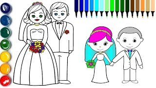 Little Bride and Groom Coloring Page | How to Draw Groom Bride