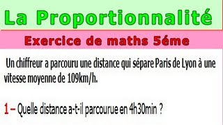 Maths 5ème - La proportionnalité la vitesse Exercice 2
