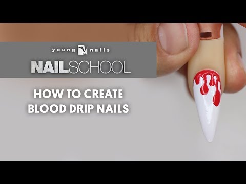 Gel nails - YN NAIL SCHOOL - HOW TO CREATE BLOOD DRIP NAILS