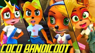 Compilation of all Coco Bandicoot appearances in Crash Bandicoot games starting in 1998  for PS1, PS2, PSP Xbox, Gamecube, Xbox 360, GBA, Wii and PS4 (1080p & 60fps)   Enjoy - Rate - Comment - Subscribe =) ►Activate the description for the order of the appearances!!Every Coco Bandicoot Appearance:00:00 Crash Bandicoot 2: Cortex Strikes Back (1997 - PS1)01:04 Crash Bandicoot 3: Warped (1998 - PS1)04:53 Crash Team Racing (1999 - PS1)08:39 Crash Bash / Crash Bandicoot Carnival (2000 - PS1)12:10 Crash Bandicoot: The Wrath of Cortex (2001 - PS2, Xbox, Gamecube)15:55 Crash Bandicoot: The Huge Adventure (XS) (2002 - GBA)16:09 Crash Bandicoot 2: N-Tranced (2003 - GBA)17:11 Crash Nitro Kart (2003 - PS2, Gamecube, Xbox)20:20 Crash Twinsanity (2004 - PS2)21:51 Crash Tag Team Racing (2005 - PS2, PSP, Gamecube, Xbox)25:54 Crash Boom Bang! (2006 - DS)29:54 Crash of the Titans (2007 - PS2, Xbox 360, PSP, DS)31:42 Crash Mind Over Mutant (2008 - PS2, Xbox 360, PSP, DS, Wii)34:11 Crash Bandicoot N. Sane Trilogy (2017 - PS4)All Coco Bandicoot Appearances in the Crash Bandicoot game series for PS1, PS2, PSP Xbox, Gamecube, Xbox 360, GBA, Wii, DS, Wii U, Xbox One and PS4 in 1080p/60fps►No Commentary Gameplay by ProsafiaGaming (2017)◄