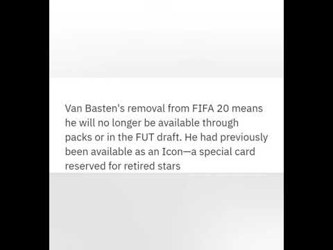 FOOTBALL LEGEND MARCO VAN BASTEN REMOVED FROM FIFA 20 ULTIMATE TEAM