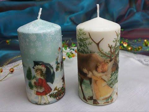 candele decorate con trasferimento di immagine - videotutorial