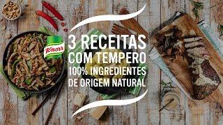 Tempere a carne com o Tempero Knorr 100% Ingredientes de Origem Natural de Carne. Esfregue bem e coloque num tabuleiro de forno.