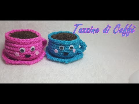 Tazzina di caffè all'uncinetto amigurumi - Crochet cup of coffee - eng subtitle