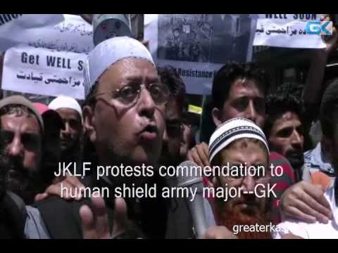 JKLF protests commendation to human shield army major