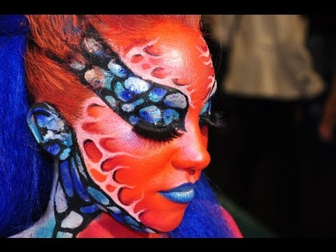 0 De la couleur et des paillettes au Congrès de lesthétique 2014 strass makeup paillettes maquillages artistiques make up for ever academy nice make up for ever face painting congrès de lesthétique body painting body art