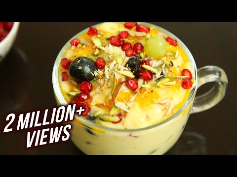 Fruit Custard Recipe – How To Make Fruit Custard At Home – Desert Recipe – Mix Fruit Custard – Ruchi