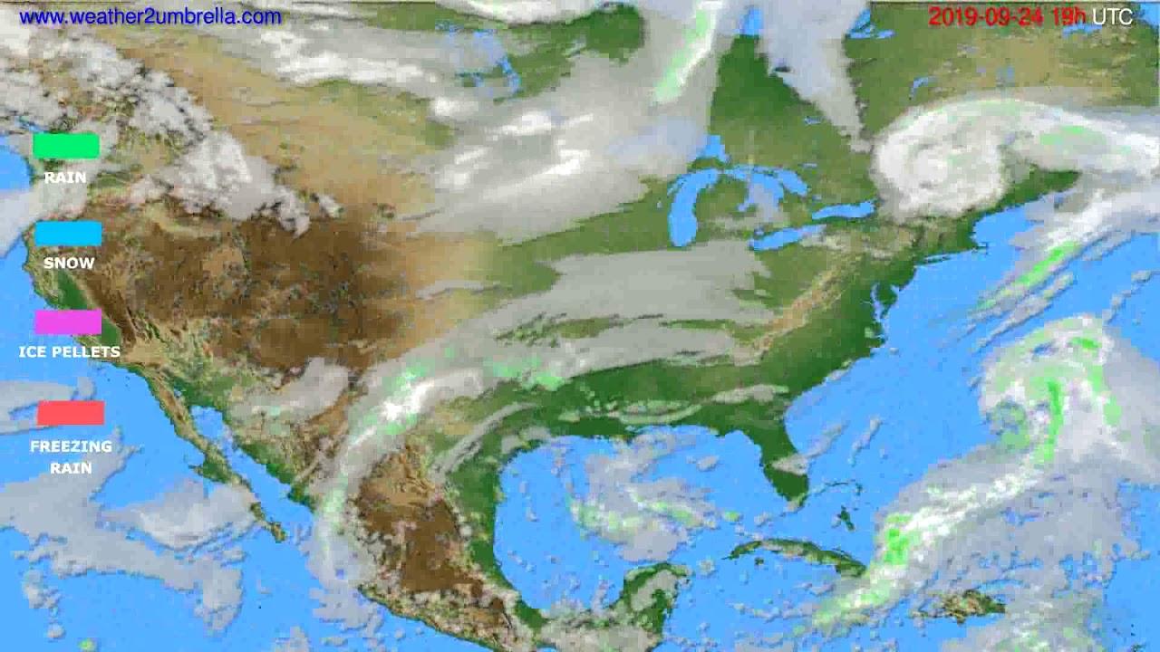 Precipitation forecast USA & Canada // modelrun: 12h UTC 2019-09-21