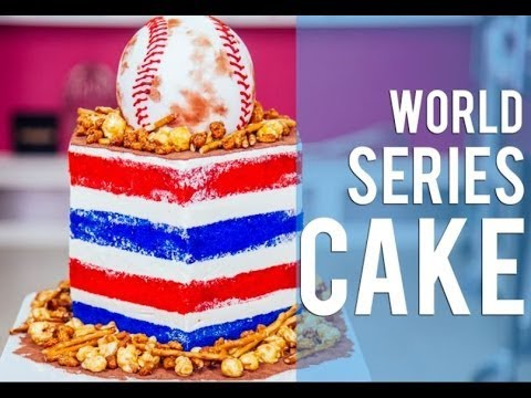 How To Make A BASEBALL WORLD SERIES CAKE! Filled with Beer nuts, caramel corn, and chocolate!