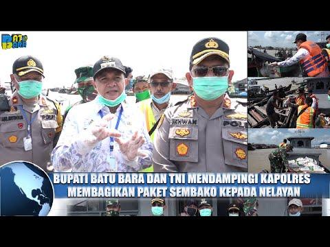 Kapolres dan Bupati Batubara Salurkan Bantuan Sembako Bagi Nelayan Tanjung Tiram