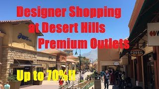 I walk around the Desert Hills Premium Outlets and show exactly how much things are when they are on sale. This was on Memorial Day. Most good sales happen on major US holidays, and happen from Friday through the weekend. Visit early, as the best deals can be seen the earlier you come!Link: http://www.premiumoutlets.com/outlet/desert-hillsYelp: https://www.yelp.com/biz/desert-hills-premium-outlets-cabazon?uid=1rPlm6liFDqv8oSmuHSefAFor best results: Bring a lot of money when you come here.