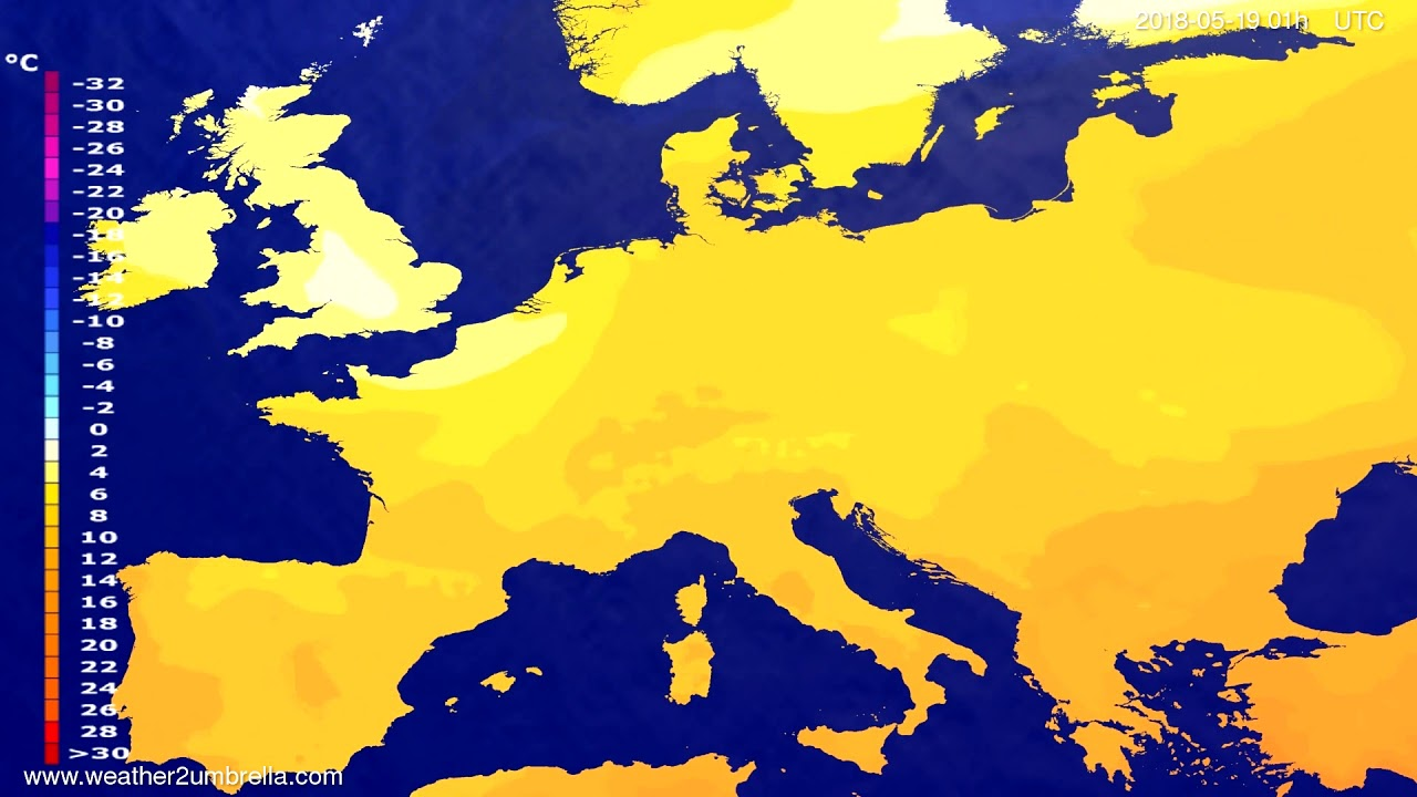 Temperature forecast Europe 2018-05-15