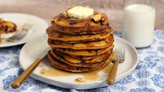 Pumpkin Chocolate Chip Pancakes by Laura in the Kitchen