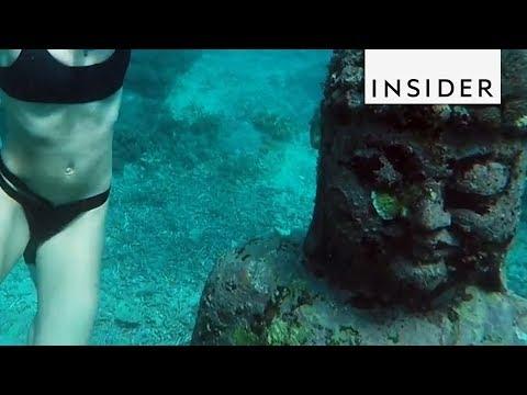 Swimming in an Underwater Buddha Garden