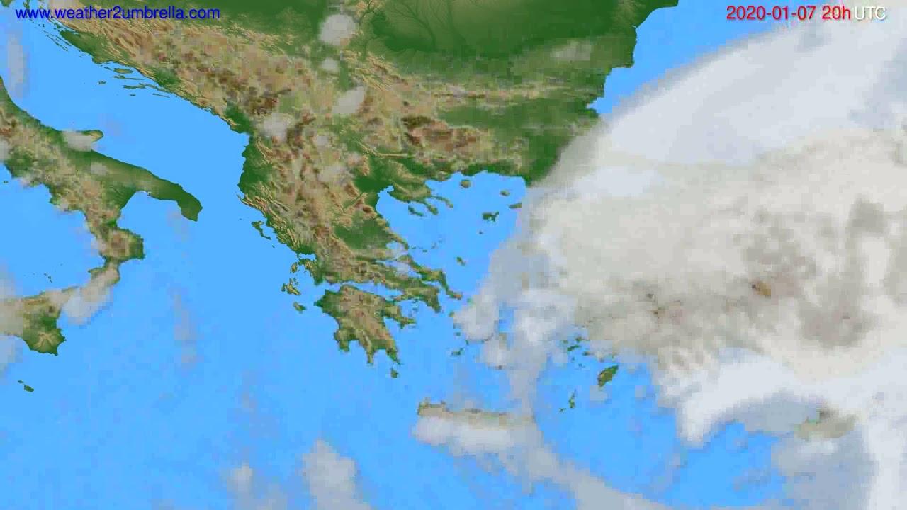 Cloud forecast Greece // modelrun: 12h UTC 2020-01-06