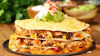 Cheesy Chicken Layer Quesadilla by Tasty