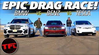 What's The Quickest Family Hauler? We Drag Race a BMW vs Mercedes-AMG vs Tesla To Find Out! by The Fast Lane Car