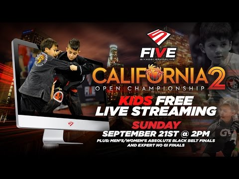 """California - Please join us on Sunday, September 21, 2014 at 2pm PT for our LIVE """"California 2 Open Championship"""" stream of 7 Kids/Teens Finals, the Men's Absolute Black Belt Final, the Women's..."""