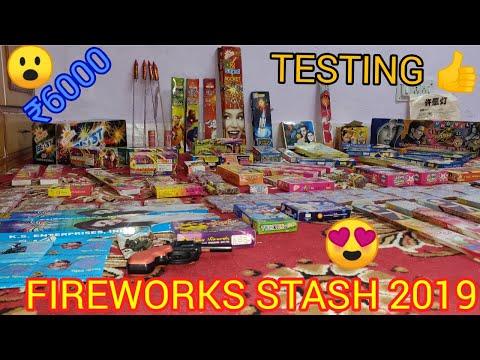 FIREWORKS STASH 2019 WITH TESTING 👍 | Worth ₹6000 | DIWALI KE PATAKE | HINDI