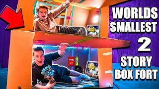Video WORLDS Smallest TWO Story Box Fort 24 Hour Challenge 📦 Fortnite, Beyblades, Xbox One & More! MP3, 3GP, MP4, WEBM, AVI, FLV November 2018