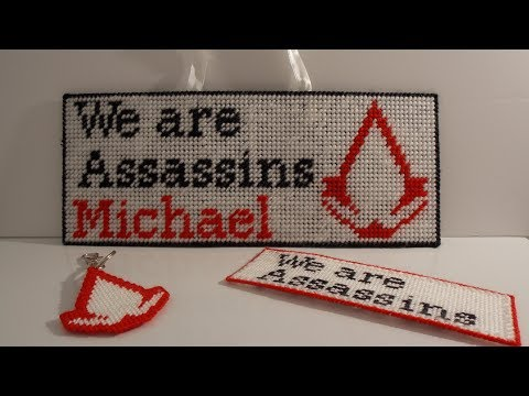 "How To Make A Plastic Canvas ""We Are Assassins"" Bedroom's Door Hanger"