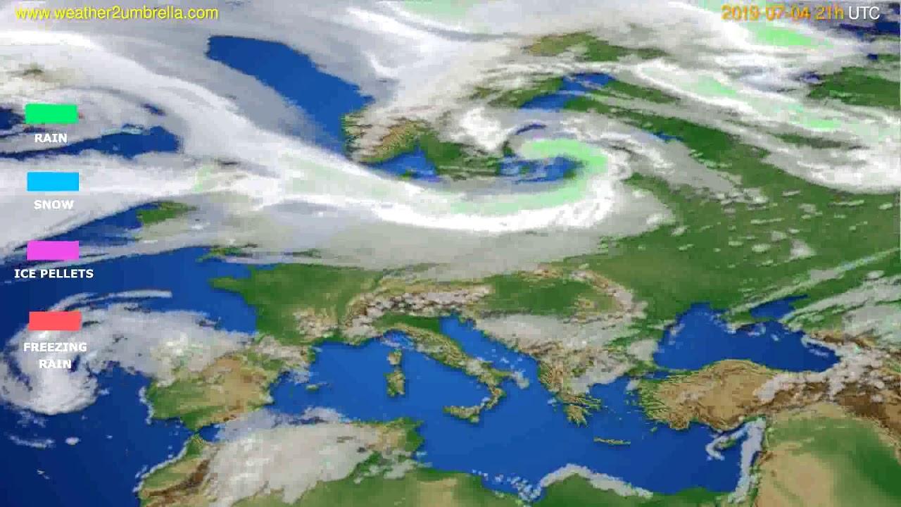 Precipitation forecast Europe // modelrun: 00h UTC 2019-07-03