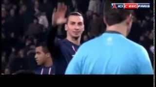 Zlatan Ibrahimovic donne un ordre à l'arbitre - PSG-Barcelona - YouTube