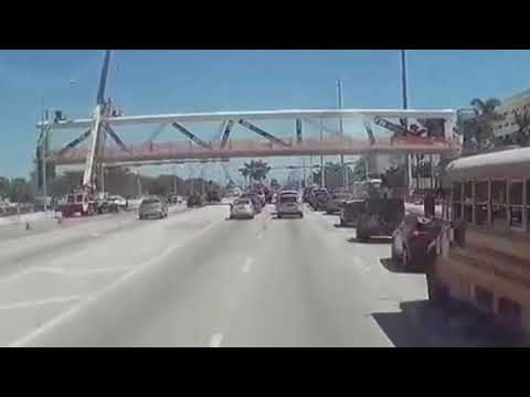 The FIU Bridge Collapse as seen from a Dash Cam.