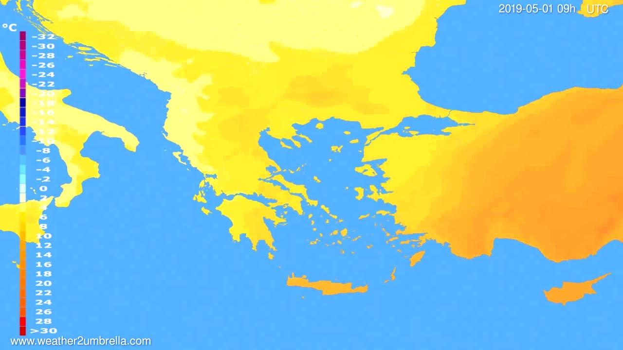 Temperature forecast Greece // modelrun: 00h UTC 2019-04-29