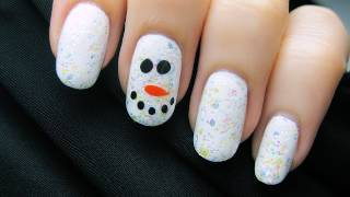 Easy Snowman Nail Art - YouTube