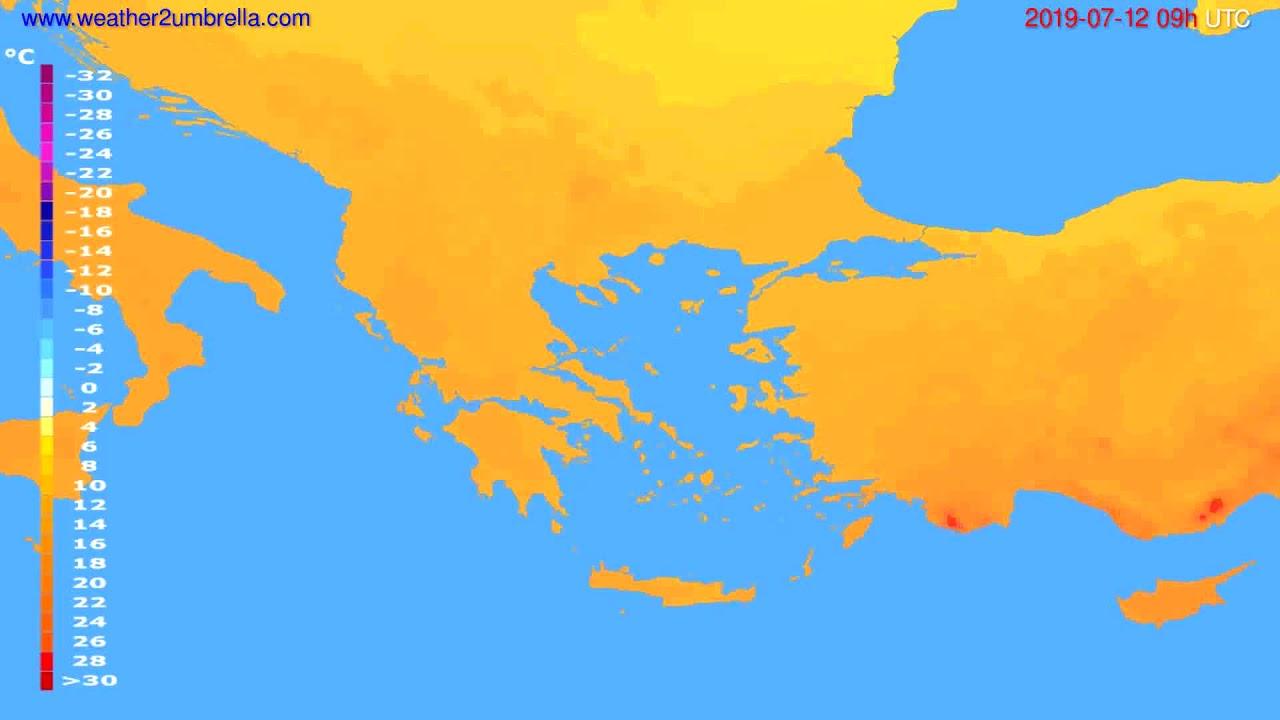 Temperature forecast Greece // modelrun: 12h UTC 2019-07-10