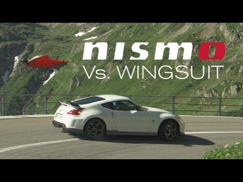 0 Falling…with Style! A Nissan 370Z Nismo Races a Guy in a Wingsuit Down a Mountain [Video]