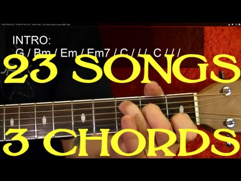 23 EASY Songs – 3 Chords – Guitar Lesson  ♫ ♪ ♫ ♪