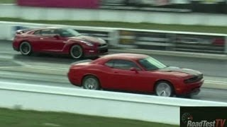 2013 GTR Vs Supercharged Challenger SRT8 - After Hours Mopar Performance - Drag Video - Road Test TV