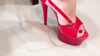 Walking In Sexy Red Platform Pleaser High Heel Sandals HD