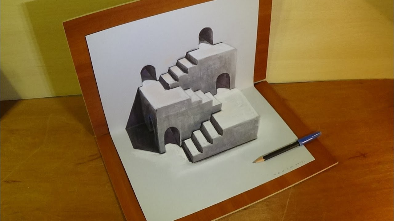 How to Draw 3D Stairs Illusion - 3D Drawing tutorial
