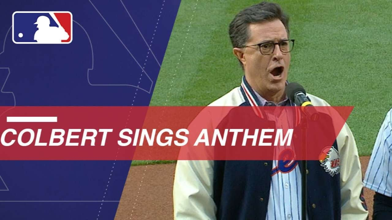 Stephen Colbert performs the national anthem at Citi Field