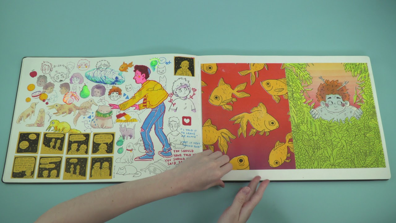 Two hands on a book of different cartoon pictures appearing to turn the page.